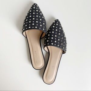 Harlow Studded Black Mule Pointed Toe Flat Size 8